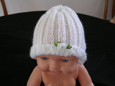 Reduced !!! Hand Knitted Baby Beanie Hat. White. Premmie, Small Newborn, Doll