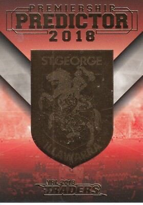 2018 NRL TRADERS PREMIERSHIP PREDICTOR CARD - PP13 ST GEORGE DRAGONS #120 of 218