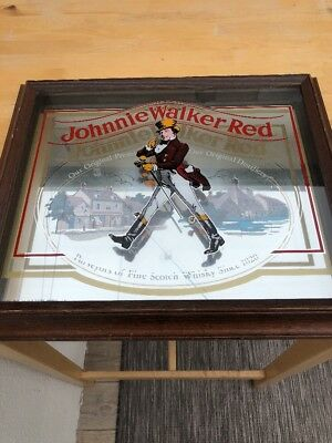 "Johnnie Walker Red Framed Sign -  19 1/2"" X 16 1/2"" Three Layered Glass. Rare"