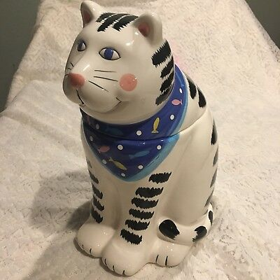 """Coco Dowley 14"""" folk art cat cookie jar kitty treat canister"""