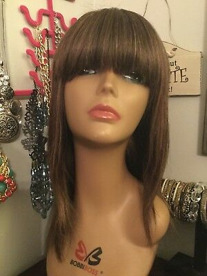 Preowned Human Hair wig med brown/golden highlights, w/combs, bangs, soft pretty