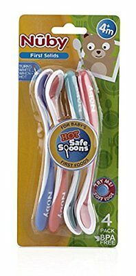Nuby Hot Safe Soft Tip Spoons (4 Pack) Bpa Free - New In Package