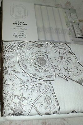 HOTEL NOUVEAU ELEPHANTS MATELASSE WHITE Embroidery SHOWER CURTAIN S NEW