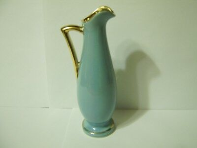 VINTAGE SHAWNEE Pottery, USA 1168, Blue with Gold Trim Pitcher / Bud Vase