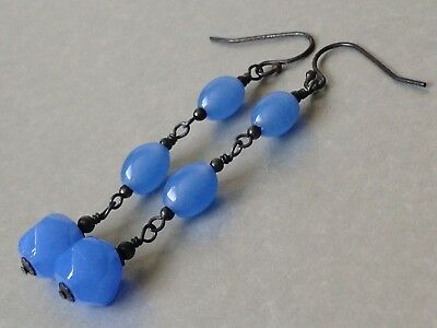 Vintage Deco Cornflower Blue Oval & Faceted Glass Oxidized 925 Earrings