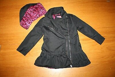 Girl sz 4T Pink Platinum Black light weight Trench coat jacket w/ Removable Hood