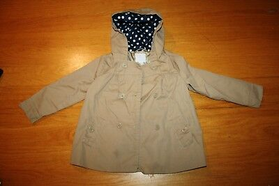 Chilldrens Place Toddler Girl Tan Khaki Light Weight trench jacket w/ hood sz 4T