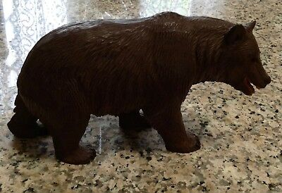 Bear Wood Carving w/ Open Mouth and Carved Teeth, Black Forest with glass eyes.