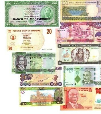 Mixed lot 10 different notes UNC Africa