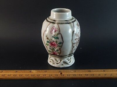 Antique Chinese Export Famille Rose Grisaille Teapoy Tea Caddy circa 1740
