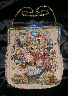 Antique Fine Micro PETIT POINT Tapestry FLOWER URN PURSE Enameled Pearl Frame
