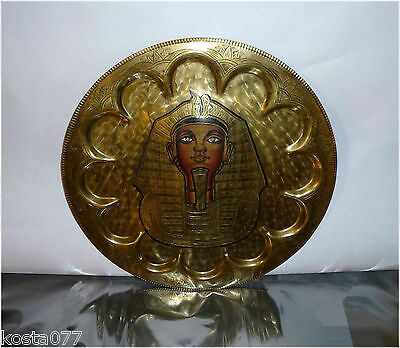"Vintage Gorgeous Egyptian Engraved 13"" Brass Wall Plaque. Ramses II, Eqypt"