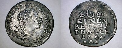 1764-A German States Prussia 1/6 Thaler World Silver Coin