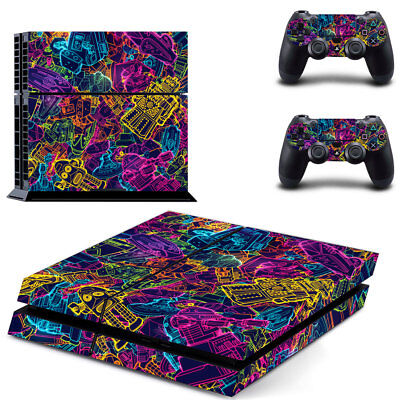 Art New Sony PlayStation 4 PS4 Console 2 Controllers Vinyl Skin Sticker Decal