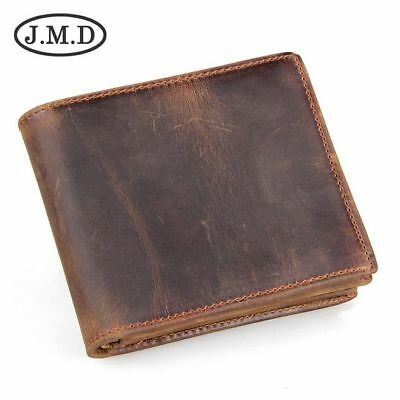 Retro Crazy Horse Leather Short Bifold Wallet Men's Credit Card Coin Wallet