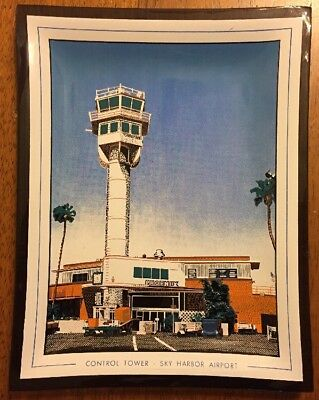 Phoenix Arizona Airplane Control Tower SKY HARBOR AIRPORT Plate National Bank