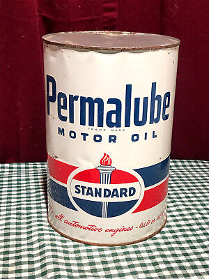 Vintage Standard Oil Co. 5 Qt. Large Can Collectible Permalube Motor Oil Can