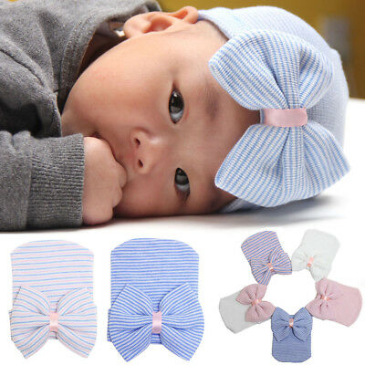 Newborn Soft Hospital Cap Infant Boy Girl Bowknot Beanie Hat For 0-3 Months Baby