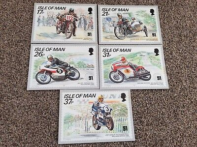 Isle of Man - Set of 5 original 1991 stampcards-30th anniv TT Mountain course