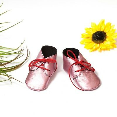 Pink Soft Sole Baby Booties, Kind's moccasins, Baby Infant Slippers, Crib Shoes