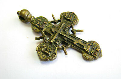 Аncient Artifact Decoration Copper Pendant Cross Crucifixion Middle Ages 17-19th