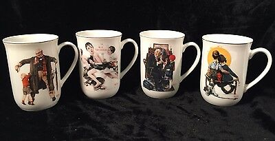 Set of 4 Norman Rockwell The Saturday Evening Post Collector Mugs