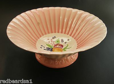 Brentleigh Ware Vintage China Fruit Bowl Decorative Fluted Pink Pattern c1950s