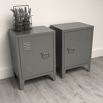 PAIR of Urban Loft Bedside Tables / INDUSTRIAL VINTAGE LOCKER STYLE SIDE TABLES