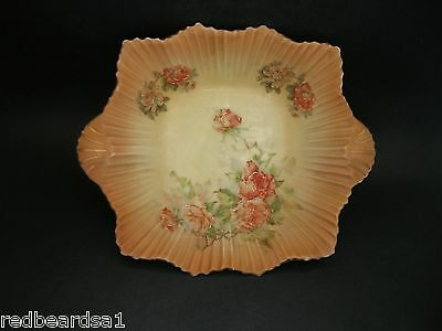 Antique China Dish Bowl Twin Handles Decorative Hand Painted Peach Roses c1900s