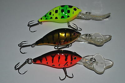 3 X Deep Diving lure Cod Yellowbelly Redfin bass VMC Hooks MUZZA'S LURES