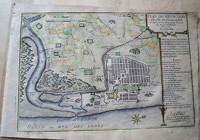 INDIA -  PUDUCHERRY:  Original Kupferstichkarte aus: Atlas curieux 1705
