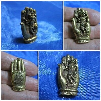 Brass Figurine Wukong in Hand of Buddha Thai Amulet Statue K42