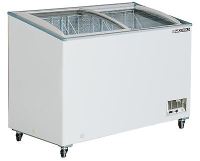 """Maxx Cold 47"""" Wide Commercial Curved Glass Lid Mobile Display Freezer – 10.6cf"""