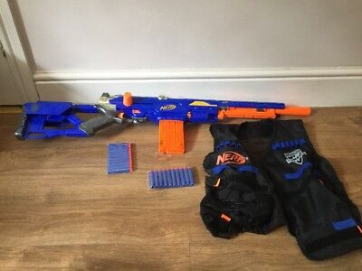 Nerf LongStrike CS6 N Strike Blaster & 20 Darts & Vest Sniper Rifle Gun Kids T