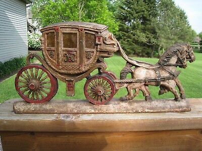 Old Large Cast Iron Stagecoach Doorstop Horses pulling Carriage Original Paint