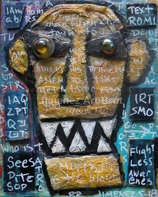 Original Outsider Art Painting - Art Brut - Found Objects - Collage