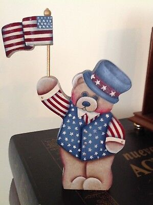 Hand Tole Painted Wood American Bear