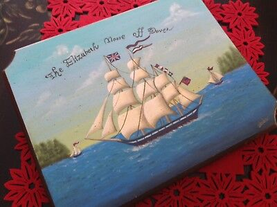 Hand Tole Painted Wood Ship