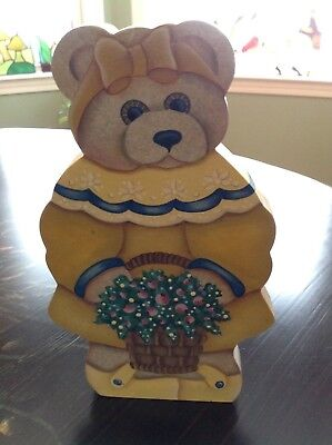 Hand Tole Painted Wood Spring Bear