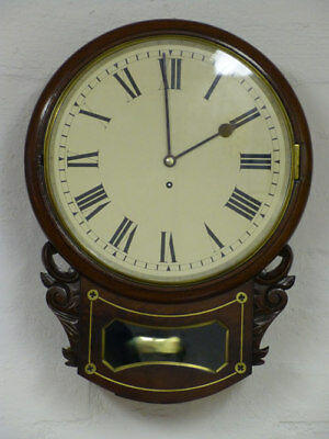 Mahogany English drop dial wall clock, fusee movement, Stafford Arms Hotel c1870