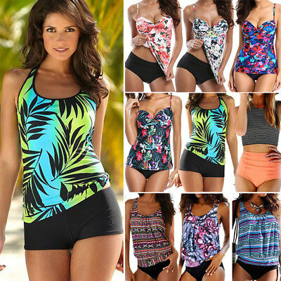 f9de5049b7 Women's Push Up Tankini Bikini Set Tank Top Boy Shorts Padded Swimwear  Swimsuit