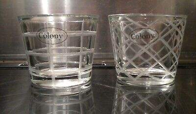 Pair of Colony Etched Heavy Glass Tealight Holders Brand New