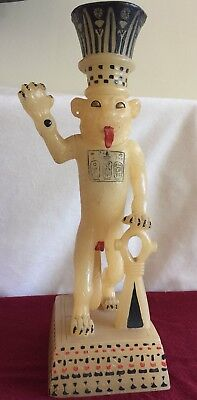 1978 Ancient Egyptian Alabaster Unguent Vase of King Tut in the Form of a Lion