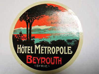 Label Kofferaufkleber Hotel Metropole Beyrouth Syrie -TOP!!!