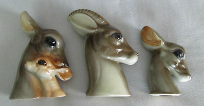 Vintage Set of 3 ROYAL COPLEY Deer GAZELLE Antelope Family PORCELAIN Planters