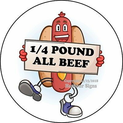 Hot Dogs 1/4 Pounds All Beef DECAL (Choose Your Size) Concession Food Sticker