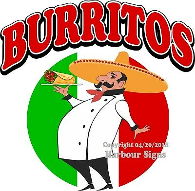BURRITOS DECAL (Choose Your Size) Concession Food Truck Vinyl Sign Sticker