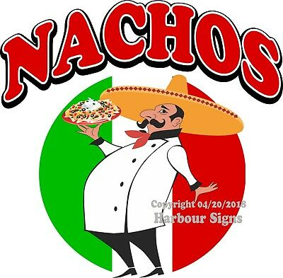 NACHOS DECAL (Choose Your Size) Concession Food Truck Vinyl Sign Sticker