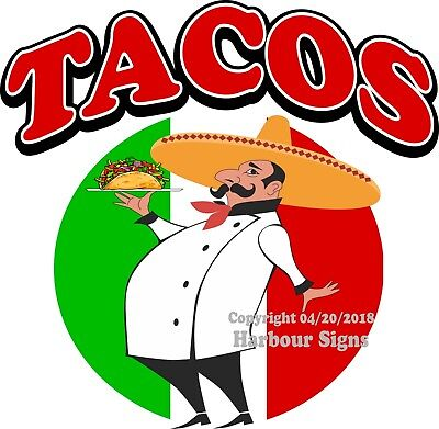 TACOS DECAL (Choose Your Size) Concession Food Truck Vinyl Sign Sticker