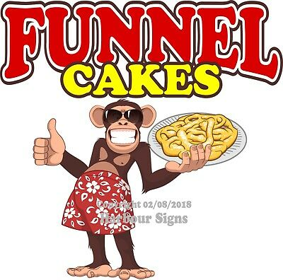 Funnel Cakes DECAL (Choose Your Size) Monkey Concession Food Sticker